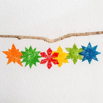 Natural fiber ornaments, 'Stellar Color' (set of 6) - Six Colorful Natural Fiber Star and Snowflake Ornaments