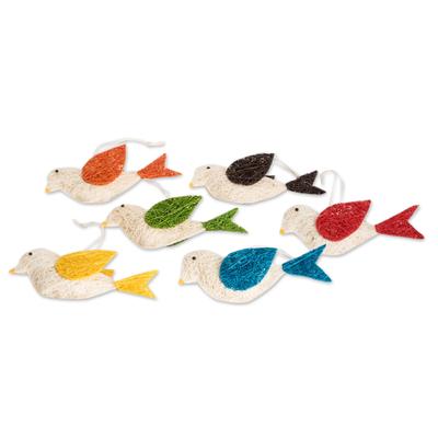 Assorted Natural Fiber Dove Ornaments (Set of 6)