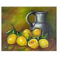 'Still Life I' - Signed Still Life Lemon Painting from Costa Rica