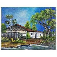 'Typical House' - Signed Impressionist Painting of a Countryside House