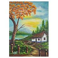 'The Lake House' - Signed Landscape Painting from Costa Rica
