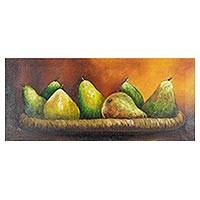 'Still Life II' - Signed Pear Still Life Painting from Costa Rica