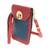Leather cellphone case, 'Charming Simplicity in Crimson' - Leather Cellphone Case in Crimson and Azure from Costa Rica (image 2b) thumbail
