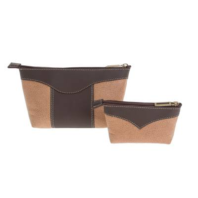 Leather Cosmetic Bags in Espresso and Honey (Pair)