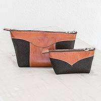 Leather cosmetic bags,