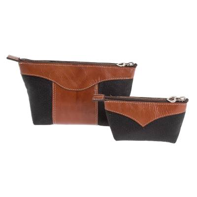 Leather Cosmetic Bags in Black and Russet (Pair)
