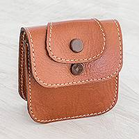 Leather coin purse, 'Walk Through the City' - Leather Coin Purse in Saddle Brown from Costa Rica