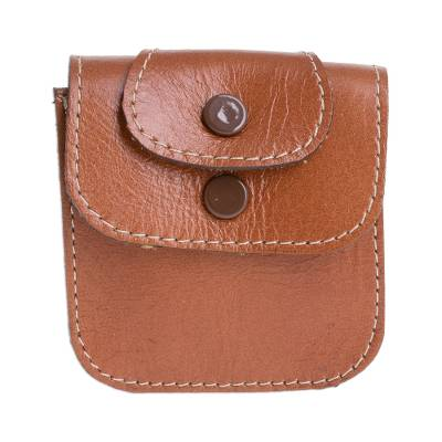 Leather Coin Purse in Saddle Brown from Costa Rica