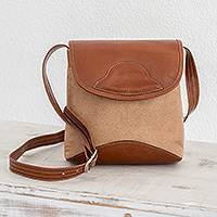 Leather sling, 'Country Bell' - Leather Sling in Caramel and Russet from Costa Rica