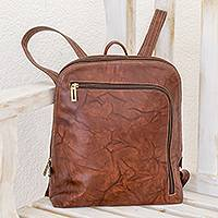 Leather backpack, 'Stylish Voyager in Chestnut' - Handcrafted Leather Backpack in Chestnut from Costa Rica