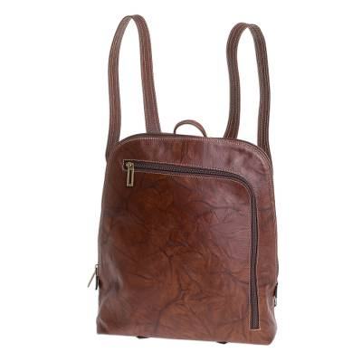 Handcrafted Leather Backpack in Chestnut from Costa Rica