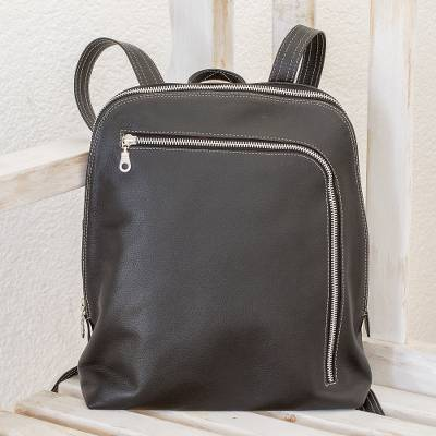 Leather backpack, 'Stylish Voyager in Black' - Handcrafted Leather Backpack in Black from Costa Rica
