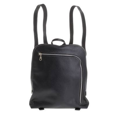 Handcrafted Leather Backpack in Black from Costa Rica