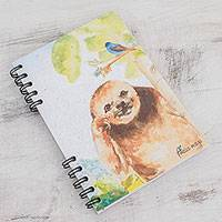 Banana leaf paper journal, 'Sloth' - Signed Sloth-Themed Paper Journal from Costa Rica