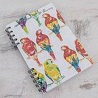 Banana leaf paper journal, 'Parrot Colors' - Signed Parrot-Themed Paper Journal from Costa Rica
