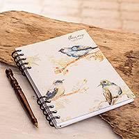 Paper journal, 'Indigo Birds' - Signed Bird-Themed Paper Journal from Costa Rica