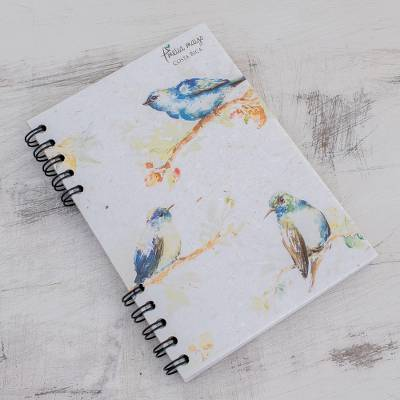 Banana leaf paper journal, 'Indigo Birds' - Signed Bird-Themed Paper Journal from Costa Rica