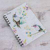 Paper journal, 'Lively Hummingbirds' - Signed Hummingbird-Themed Paper Journal from Costa Rica