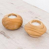 Teakwood tealight holders, 'Home Light' (pair) - Teakwood Tealight Holders from Costa Rica (Pair)