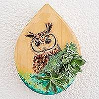 Wood wall-mounted planter, 'Owl Nature'