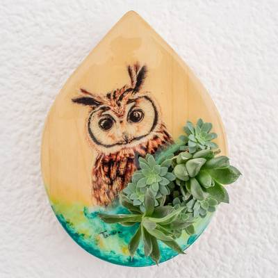 Wood wall-mounted planter, 'Owl Nature' - Hand-Painted Owl-Themed Wood Wall-Mounted Planter