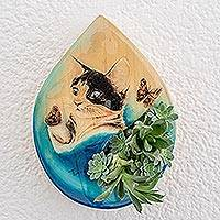 Wood wall-mounted planter, 'Playful Cat' - Hand-Painted Cat-Themed Wood Wall-Mounted Planter