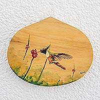 Wood plaque, 'Hungry Hummingbird' - Hand-Painted Hummingbird-Themed Wood Plaque Wall Art