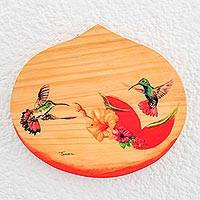 Wood plaque, 'Flying Free' - Hand-Painted Hummingbird Wood Wall Plaque from Costa Rica