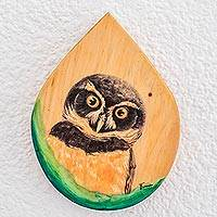 Wood plaque, 'Owl Gaze' - Hand-Painted Owl-Themed Wood Plaque Wall Art