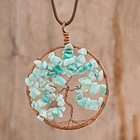 Aquamarine pendant necklace, 'Capricorn Tree of Life' - Aquamarine Gemstone Tree Pendant Necklace from Costa Rica