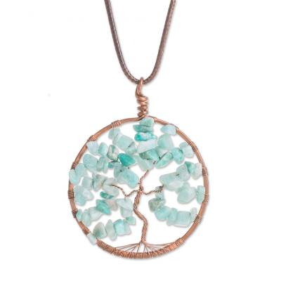 Aquamarine Gemstone Tree Pendant Necklace from Costa Rica