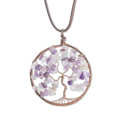 Amethyst Gemstone Tree Pendant Necklace from Costa Rica
