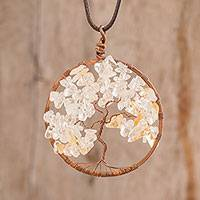 Quartz pendant necklace, 'Quartz Tree of Life' - Quartz Gemstone Tree Pendant Necklace from Costa Rica