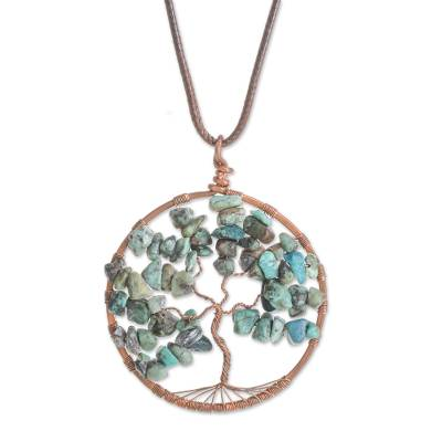 Gemstone Tree Pendant Cancer Necklace from Costa Rica