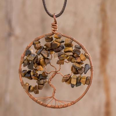 Tiger's eye pendant necklace, 'Gemini Tree of Life' - Tiger's Eye Gemstone Tree Pendant Necklace from Costa Rica