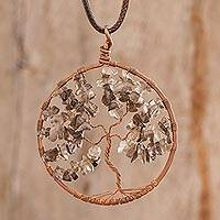 Smoky quartz pendant necklace, 'Smoky Quartz Tree of Life' - Smoky Quartz Gemstone Tree Pendant Necklace from Costa Rica