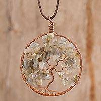 Labradorite pendant necklace, 'Pisces Tree of Life' - Natural Labradorite Gemstone Tree Pisces Pendant Necklace