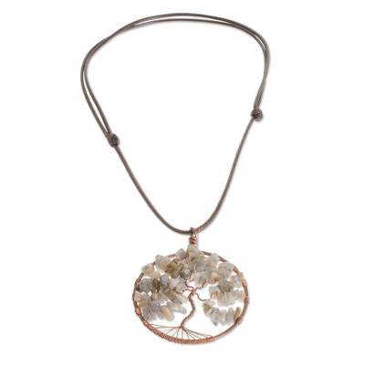 Natural Labradorite Gemstone Tree Pisces Pendant Necklace