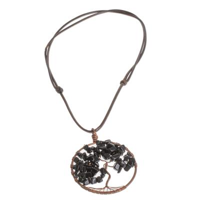 Onyx Gemstone Tree Aquarius Pendant Necklace from Costa Rica