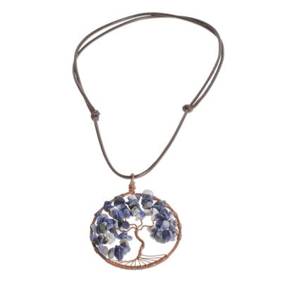 Sodalite Gemstone Tree Pendant Necklace from Costa Rica
