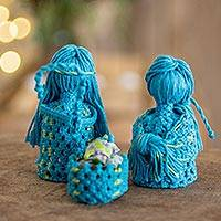 Cotton macrame nativity scene, 'Hopeful Arrival in Turquoise' (set of 4) - Cotton Macrame Nativity Scene in Turquoise (Set of 4)