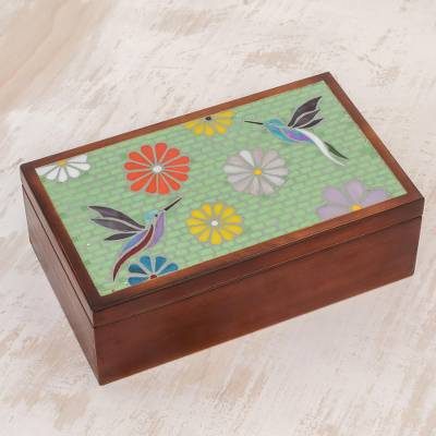 Glass mosaic tea box, 'Multicolored Flight' - Hummingbird-Themed Glass Mosaic Tea Box from Costa Rica