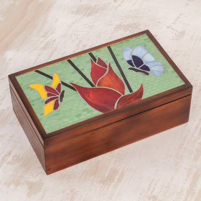 Glass mosaic tea box, 'Two Butterflies' - Floral Butterfly Glass Mosaic Tea Box from Costa Rica