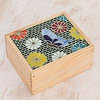 Glass mosaic tea box, 'Multicolored Garden' - Butterfly-Themed Glass Mosaic Tea Box from Costa Rica
