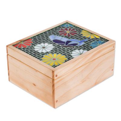 Glass mosaic tea box, 'Multicolored Garden' - Butterfly-Themed Glass Mosaic Tea Box from Costa Rica