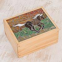 Glass mosaic tea box, 'Indomitable' - Horse-Themed Glass Mosaic Tea Box from Costa Rica