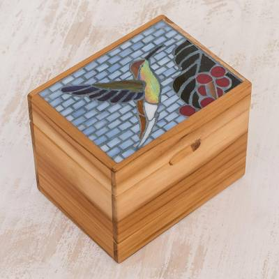 Glass mosaic teak wood decorative box, 'Hummingbird Flight' - Handcrafted Glass Mosaic Teak Wood Decorative Box
