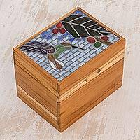 Glass mosaic teakwood decorative box, 'Sweet Fruit' - Nature-Themed Glass Mosaic Teakwood Decorative Box
