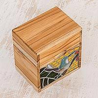 Glass mosaic teakwood decorative box, 'Hummingbird Delight' - Hummingbird-Themed Glass Mosaic Teakwood Decorative Box