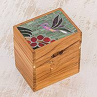 Glass mosaic teakwood decorative box, 'Nectar' - Hummingbird Motif Glass Mosaic Teakwood Decorative Box